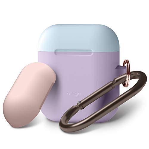 elago Custodia Doppia Hang Compatibile con Apple AirPods 1 & 2 (LED anteriore Non Visibile) - [2 Caps & 1 Body] [Funziona la Ricarica Wireless] - (Lavanda/Blu pastello, Rosa)