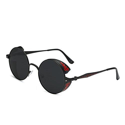 AMZTM Retro Gothic Steampunk HD Polarisierte Sonnenbrille für Frauen Vintage Metall Runde Kreis Rahmen Verspiegelt Fahrbrille UV400 Schutz (Schwarz Rahmen Grau Linse, 51)