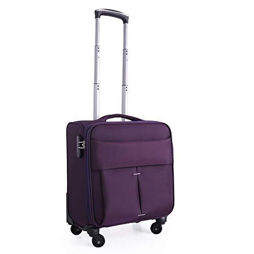 GUO Klassischer Trolley, 16 Zoll Oxford Universal-Radkoffer Business-Boarding-Mini-Crew-Koffer,Lila,Einheitsgröße