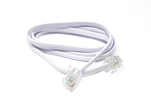 ADSL-Hochgeschwindigkeits-Breitbandmodem-Kabel, RJ11auf RJ11, lang und flach, weiß(erhältlich in 1m, 2m, 3m, 5m, 10m, 15m, 20m, 30m) 1m weiß