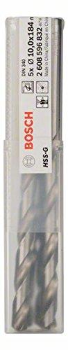Bosch Professional Metallbohrer HSS-G geschliffen mit langer Arbeitslänge (5 Stück, Ø 10 mm)