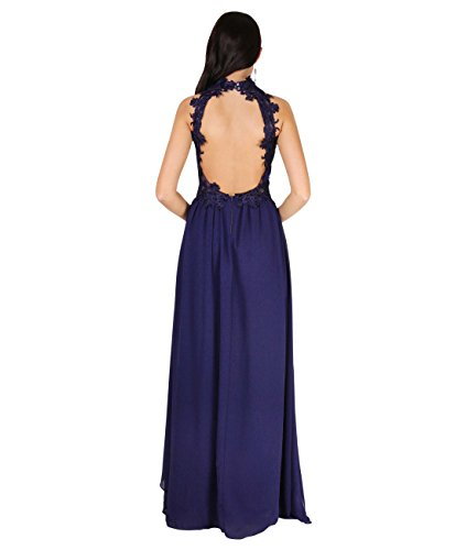 KRISP® Damen Elegante Maxi Kleider Bodenlange Festkleider Marineblau (4812)