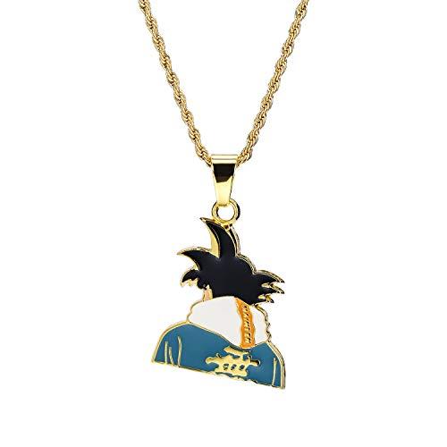 eit Cartoon Super Saiyan Wukong Avatar Anhänger Halskette für Männer Schmuck Geschenk,Gold ()