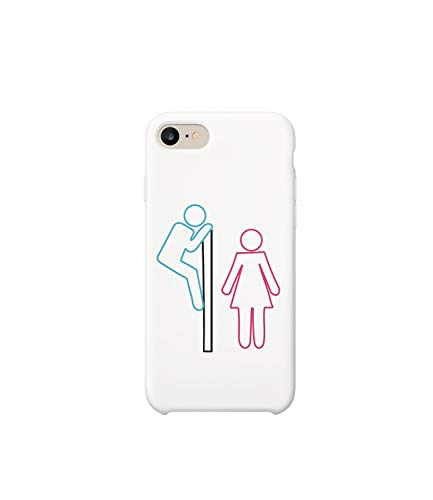 GlamourLab Toilets Perverse Pictogram Situation Men Women_R5688 Protective Case Cover Hard Plastic Compatible with for iPhone 8 Plus Funny Gift Christmas Birthday Novelty