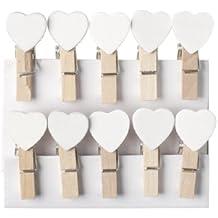 Mollette in legno con cuoricini bianchi, decorazione