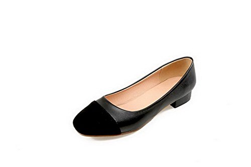 AgooLar Femme Matière Souple Carré à Talon Bas Tire Couleurs Mélangées Chaussures Légeres Noir