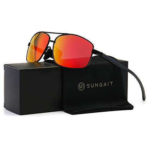 SUNGAIT Damen ultra-leicht rechteckig polarisierte sonnenbrille 100% uv-schutz Schwarz Rahmen Rot Mirror Linse free size