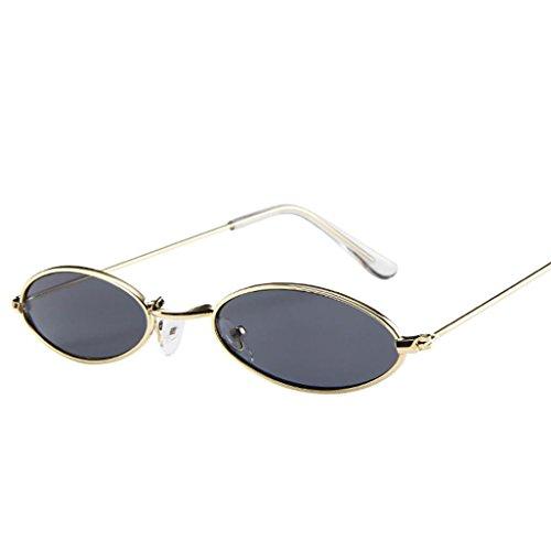 Huhu833 Mode Unisex Retro kleine ovale Sonnenbrille Metallrahmen Shades Eyewear Reise Sonnenbrille (Grau)