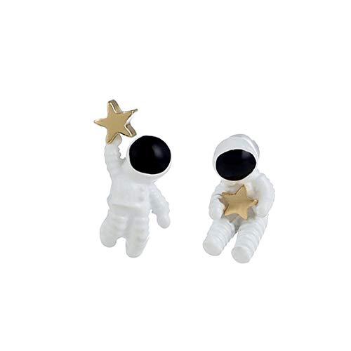 Fliege MÄNNER Koreanische Version der Persönlichkeit der asymmetrischen S925 Silber Nadel Ohrringe Raum Astronauten Fünfzackigen Stern Ohrringe Schmuck