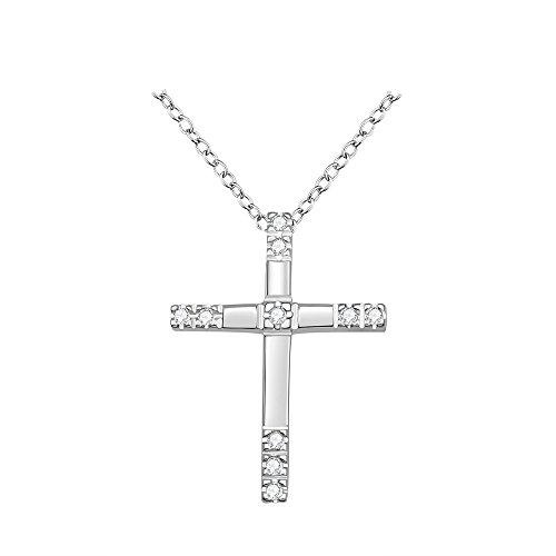 Kreuz Halskette Dünne (Styleziel Damen Halskette 925 Silber pl mit Kreuz Anhänger Zirkonia Kristalle 45cm 1494)