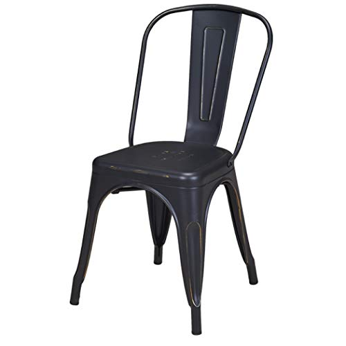 Duhome 1x Esszimmerstuhl Schwarz Stuhl aus Metall/Eisen Used Look Vintage Farbauswahl Küchenstuhl stapelbar, robust & zeitlos 666