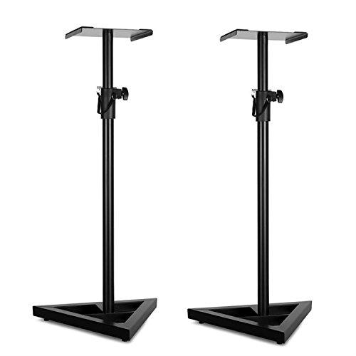 Malone Stand 5 • Monitor-Ständer • Lautsprecherständer Paar • standfeste Boxenständer für Studiomonitore • 4-stufig • verstellbare Höhe 92-144 cm • Metallkonstruktion • 23x23 cm Stellfläche • schwarz
