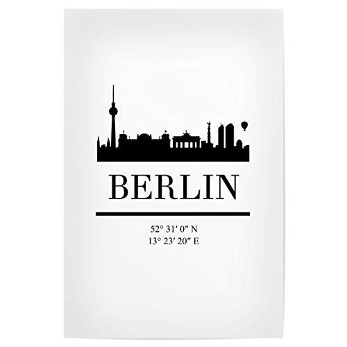artboxONE Poster Berlin Germany Black Skyline Art von Künstler Emiliano Deificus