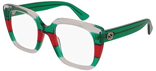 Brillen Gucci GG0180O WHITE RED STRIPED GREEN Damenbrillen