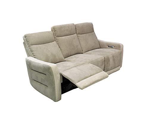 Meubletmoi - divano relax a 3 posti, 3 motori, in morbido tessuto scamosciato, bicolore tortora beige, ultra comfort