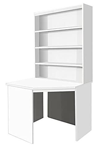 Home Office Furniture UK Corner Desk Unit Computer Table with HUTCH, Wood, White, satin Profile,