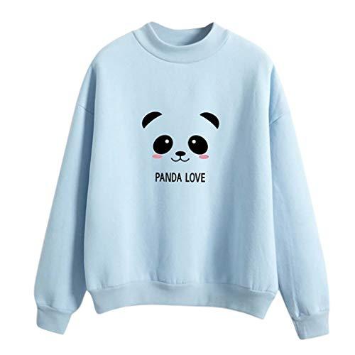 Amoyl Hoodie Damen Langarm Rundhals Lose Panda Bedruckte Sweatshirt Bluse Tops Damenbekleidung Sport Freizeit (Hellblau, M/EU:42)