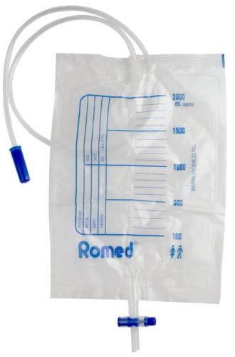 Romed Urinbeutel 2,0 Liter mit Ventil und T-Ablass einzeln steril CE, 10 Stück