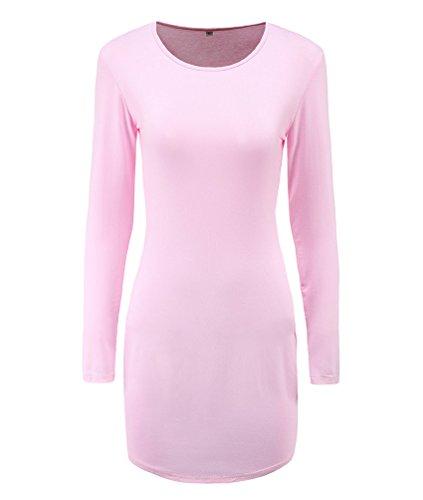 WanYang Damen langärmeliges Taille Hochkragen Schlanke Geschnittenes Kleid Langärmelig Kleid Langärmelig Damen Mit Rundhals Ausschnitt Rosa