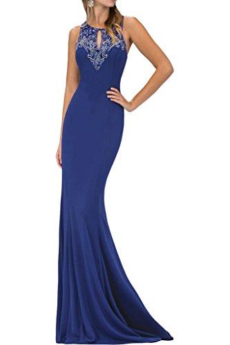Ivydressing Damen Hochwertig Etui-Linie Perlen Rundkragen Partykleid Promkleid Festkleid Abendkleid Royalblau