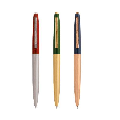 kikkerland-kk4328-penna-a-sfera-in-stile-retro-in-metallo-3-pezzi-colori-assortiti