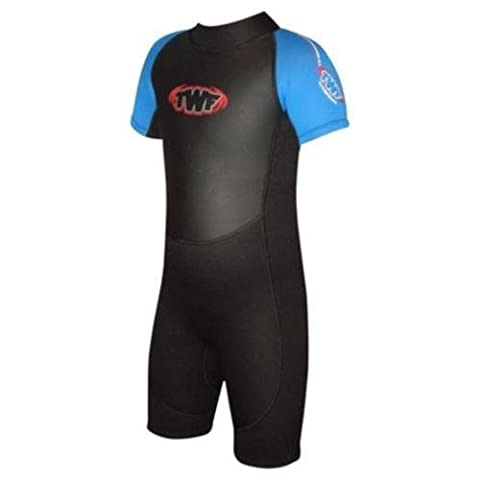Childs / Baby Shortie Wetsuit LOW Neck. Swarm 2mm summer suit, ideal for surfing swimming or UV sun protection.Swimming, Surfing, Beach wear. Full Range Of Childrens Sizes (Blue, 10-11 years)