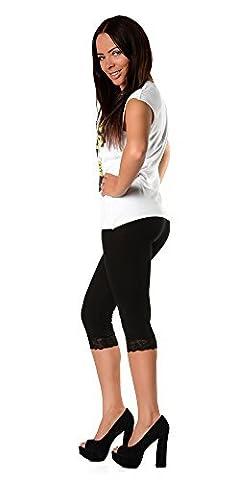 EloModa® Leggings 3/4 mit Spitze blickdicht Baumwolle Gr. S M L XL XXL 3XL, p940 (XXL/44, Schwarz)