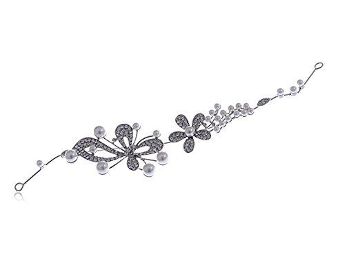 Silver Tone Floral fausse perle strass transparent mariée Peigne