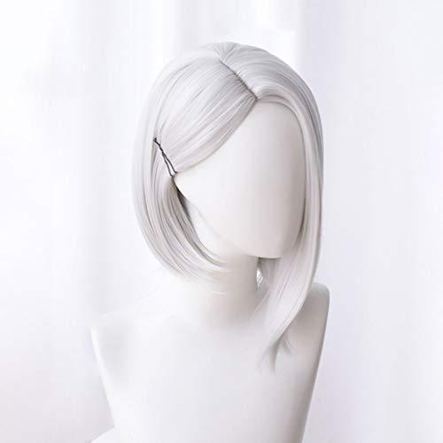 erwatch (Ashe) Anime Cosplay Rose Perücken Mit Pony 100% Hochtemperaturbeständige Faser Weiß Kurzes Haar 14inches ()