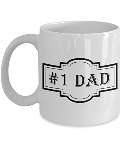 Novelty Coffee Mug - #1 Dad, 11 oz Cup - Best Funny Gifts Under 20 Dollars for Family, Great Gift for Christmas, Birthday, or Holidays