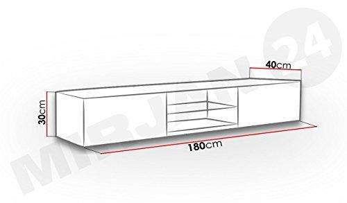 TV Lowboard Vigo Glas, Fernsehschrank, TV Schrank mit Gehärtes Glasboden, Hängeschrank mit Grifflose Öffnen, Hochglanz (ohne Beleuchtung, Schwarz / Schwarz Hochglanz) - 3