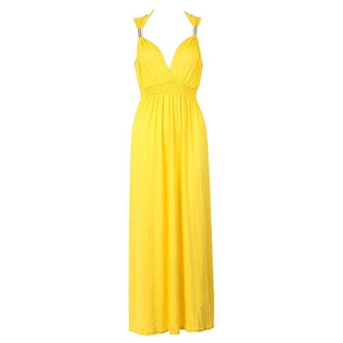 Sans manches pour femme Matière Stretch Uni ressort Maxi robe évasé en Jersey Jaune - Citron