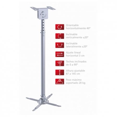 Fonestar - Soporte de techo extensible para proyector - orientable 40º horizontal - inclinable 20º v