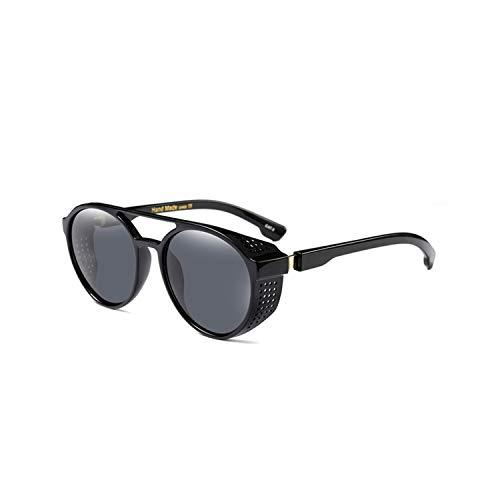 Vikimen Sportbrillen, Angeln Golfbrille,Vintage Steampunk Sunglasses Men Goggles Round Sunglass Women Retro Steam Punk Sun Glasses Shades Twin-Beams Glasses Black
