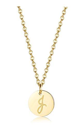 alskette für Herren Damen Alphabet Halskette Initiale Kette Männer Buchstaben J Goldton 46+5CM ()