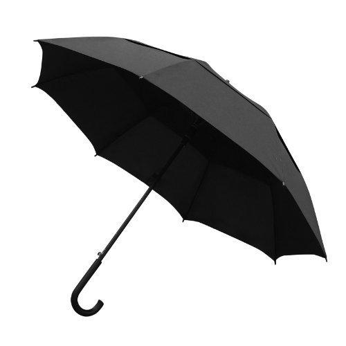 Lavievert 48 Zoll halbautomatische eröffnene Regenschirm,klasische lange Stockschirm/Golfschirm/Partnerschirm/Sandstrand-Regenschirm mit 8 Faserstützen und Rundhakengriff,Unisex (Schwarz)