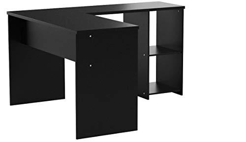 SONGMICS Computertisch großer Schreibtisch, 140 x 120 cm, Stabiler Eckschreibtisch, PC-Tisch, erleichterte Montage, Winkelkombination Bürotisch mit 2 Ablagen und Tastaturauszug, schwarz LCD810B