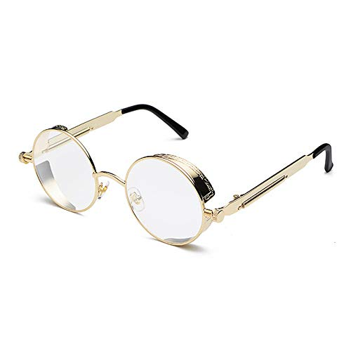 YMTP Retro Steampunk Gläser Rahmen Männer Vintage Gold Silber Schwarz Metall Runden Brillen Rahmen Für Frauen, Gold Mit Klar
