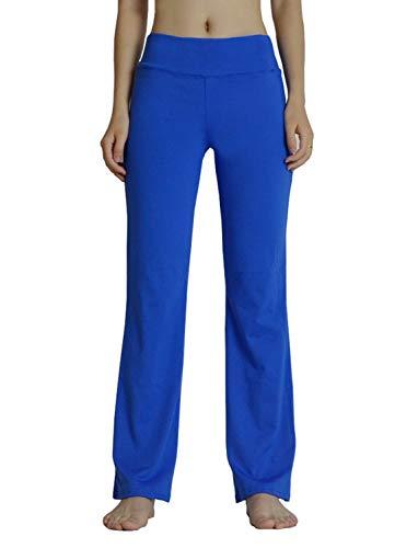 Yimoon Damen Bootcut Yoga Pants Workout Running Stretch Lange Bootleg Flare Pants - blau - Groß
