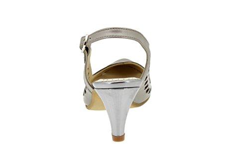 Komfort Damenlederschuh Piesanto 4154 sandale herausnehmbaren Einlegesohlen bequem breit Titanio