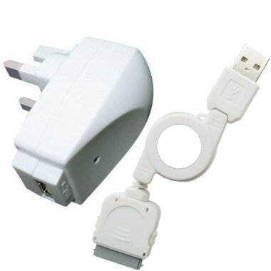 Ex-Pro Netzladegerät und einziehbares USB-Kabel für Apple iPhone 3G, 3Gs, 4, 4G, iPod Mini, Video, Shuffle, iPod mit Dock Connector, iPod mit Clickwheel und Farbdisplay, iPod U2, Classic, Nano (2./3. Generation)