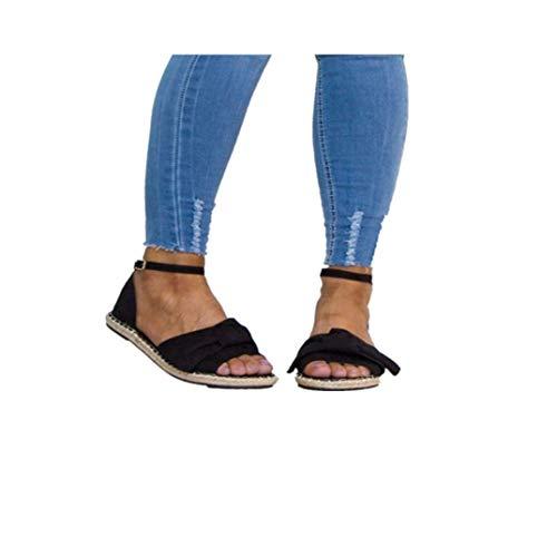 ille Flache Sandalen Peek Toe Schnalle Abdeckung Ferse Ausschnitt Komfortable rutschfeste Sommer Strand Schuhe ()