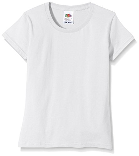"Fruit of the Loom Mädchen T-Shirt Ss125b, Weiß, ""7-8 Years / 30\""\"" Chest\"""