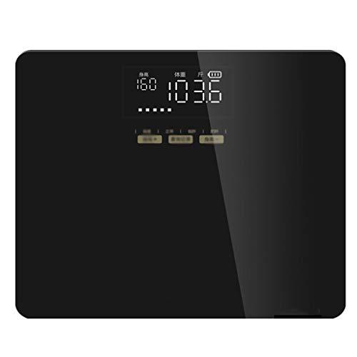 Producto: balanza electrónica.Pantalla: 3.4 pulgadas LEDModo de fuente de alimentación: USB de carga rápidaColor del producto: oro ligero de lujo negro.Forma: cuadradoPanel: vidrio templadoPeso: alrededor de 1.5kgRango de pesaje: 5 ~ 150 kgCaracterís...