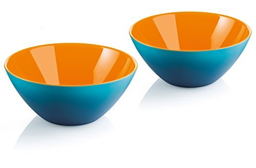 Guzzini My Fusion Small Bowls, Set of 2, BPA-Free Shatter-Resistant Acrylic, 4-3/4 inch Diameter, Ideal for Desserts, Soups and Sides, Blue, Orange -