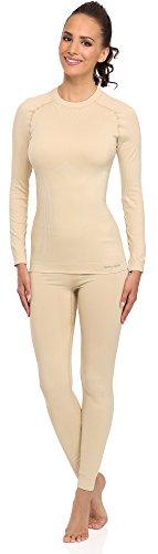 Merry Style Donna Biancheria Funzionale Camicia a maniche lunghe Termo attivo 06 110 Beige