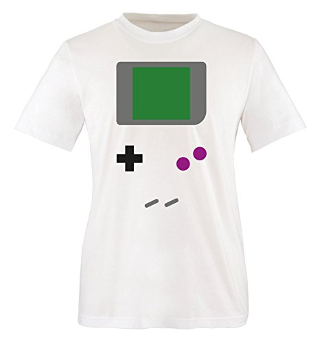 Comedy Shirts - GAMEBOY KOSTÜM - Herren T-Shirt - Weiss / Bunt Gr. XXL (College Barbie Kostüme)