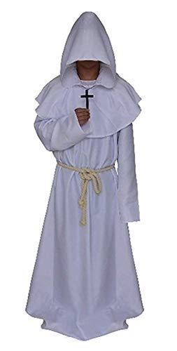 ster Robe Mönch Gewand Kostüm Mittelalterliche Mönch Kutte Umhang Mantel Mit Kapuze Mann Frau Unisex Verkleidung Karneval Halloween Cosplay Zubehör Fancy Dress Faschingskostüm ()