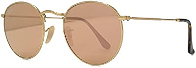 Ray-Ban Gafas de sol de lente plana redonda en oro cobre Flash RB3447N 001/Z2 50