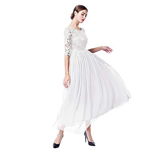 8f2066adc8a IWEMEK Women s Vintage Elegant 2 3 Sleeves Floral Lace Tulle Evening  Cocktail Prom Ball Gown
